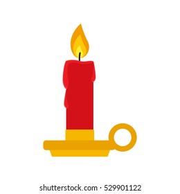 Flat icon candlestick isolated on white background. Vector illustration.