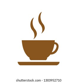 Flat icon coffee cup isolated on white background. Vector illustration.
