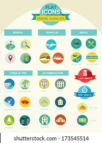 Flat icon collection for travel agencies