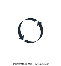 Flat icon of cyclic rotation, recycling recurrence, renewal.