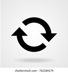 Flat icon of cyclic rotation, recycling recurrence, renewal. Black and white symbol of loop movement.