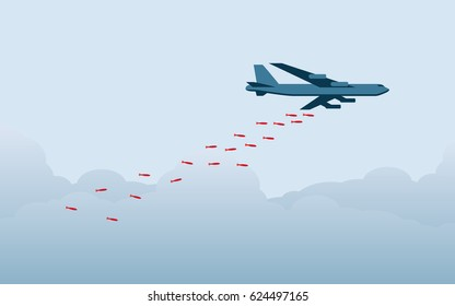 flat icon design of bomber plane dropping bombs in blue color background