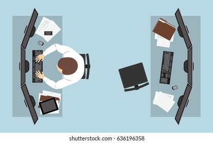 flat icon design of business man working with computer on desk in top view
