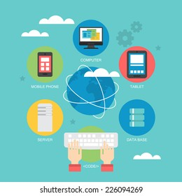 Flat icon design for cloud computing  and global network concept