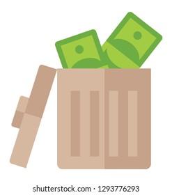 Flat icon design of money wastage