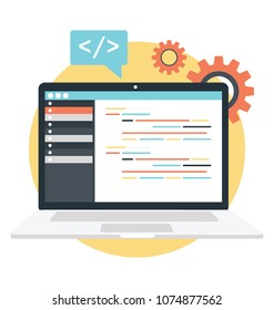 Flat icon design of site editor, website HTML coding