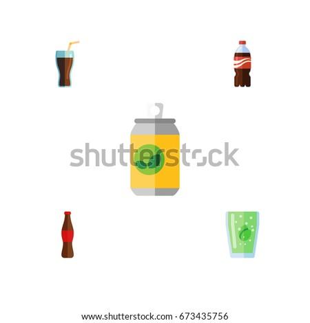 Flat Icon Drink Set