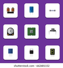 Flat Icon Electronics Set Of Coil Copper, Transistor, Display And Other Vector Objects. Also Includes Central, Calculator, Hard Elements.