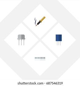 Flat Icon Electronics Set Of Memory, Resist, Repair And Other Vector Objects. Also Includes Access, Semiconductor, Recipient Elements.