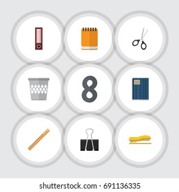 Flat Icon Equipment Set Of Copybook, Dossier, Clippers And Other Vector Objects. Also Includes Straightedge, Notepad, Paper Elements.