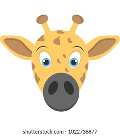 Flat icon of the face of a baby giraffe