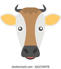 Flat icon of a face of a cow