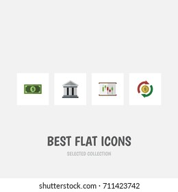Flat Icon Finance Set Of Bank, Greenback, Interchange And Other Vector Objects. Also Includes Report, Greenback, Architecture Elements.