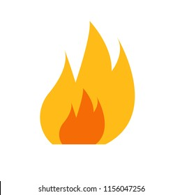 Flat icon fire isolated on white background. Vector illustration.