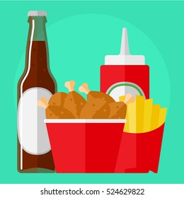 flat icon fried chicken in the box, beer in the bottle, fries and ketchup