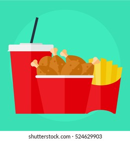 flat icon fried chicken in the box, cola and fries