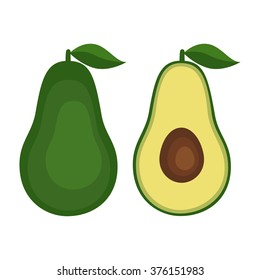 Flat icon fruit avocado with leaf. Vector illustration.