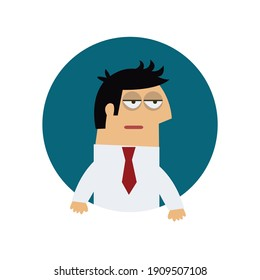 Flat icon of frustrated tired manager vector illustration