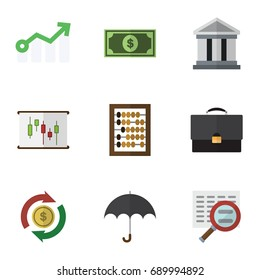 Flat Icon Gain Set Of Portfolio, Parasol, Counter And Other Vector Objects. Also Includes Greenback, Portfolio, Dollar Elements.