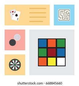 Flat Icon Games Set Of Ace, Cube, Labyrinth And Other Vector Objects. Also Includes Maze, Rubik, Labyrinth Elements.