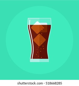 flat icon Glass of cola with ice