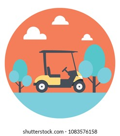 Flat icon of a golf cart