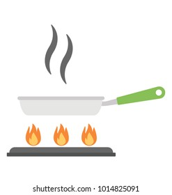 Flat icon of a hot frying pan