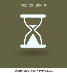 Flat icon of hourglass. vector illustration