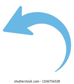 A flat icon image of curved left turn arrow