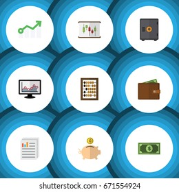 Flat Icon Incoming Set Of Money Box, Diagram, Greenback And Other Vector Objects. Also Includes Arrow, Calculator, Document Elements.