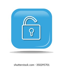 Flat Icon of lock. Isolated on blue background. Modern vector illustration for web and mobile.