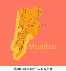 Flat icon map of Mumbai.