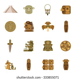 Flat icon maya indian tribal religion symbols set isolated vector illustration