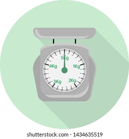 flat icon of mechanical ancient scales for food on green background