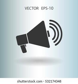 Flat icon of megaphone. vector illustration