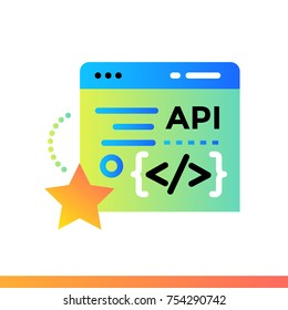 Flat icon Modeling API. Data science technology and machine learning process. Material design icon suitable for print, website and presentation