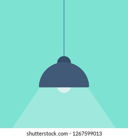 Flat icon modern hanging lamp isolated on light green background. Vector illustration.