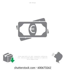 Flat icon of money (euro) vector icon