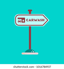 flat icon on background car wash sign