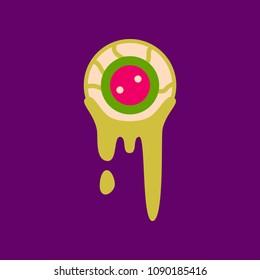 flat icon on background halloween zombie eyes