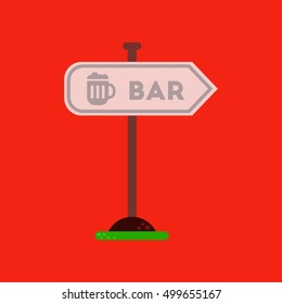 flat icon on background sign of bar