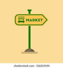 flat icon on background sign of market