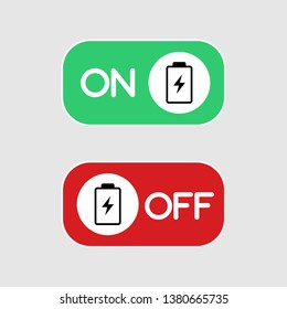 Flat icon On and Off Toggle switch button with batery concept vector format