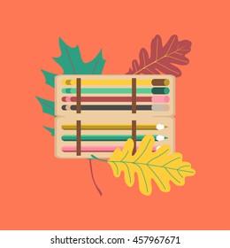 flat icon on stylish background pencil box pencil pen
