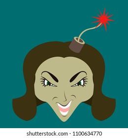 flat icon on theme evil women