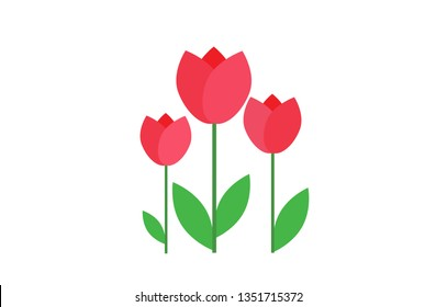flat icon on white background tulip blooms . 8 March . Women's spring day.;