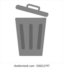 Flat icon opened trash can isolated on white background.. Vector illustration.