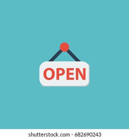 Flat Icon Opening Time Element. Vector Illustration Of Flat Icon Sign  Isolated On Clean Background.
