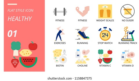 Flat icon pack for healthy, fitness, weight, scales, no, sugar, exercises, running, stop, watch, running track, biotin, choline, vitamin c, vitamin d.
