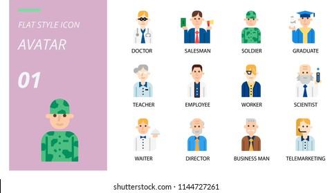 flat icon pack . Icons for avatars,doctor, saleman, solder, graduate, teacher, employee, worker, scientist, waiter, director, business man telemrketing.